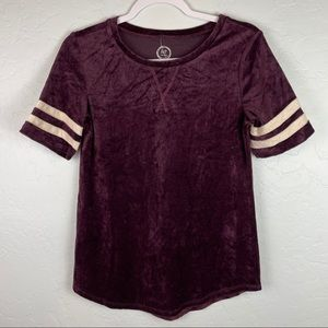 Maurices Maroon Velvet Jersey Style T Shirt NWT XS